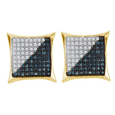 10K Yellow Gold Men's Round Blue Color Enhanced Diamond Square Kite Cluster Earrings 1/10 Ct