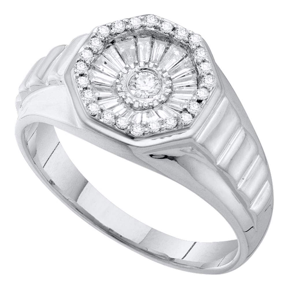14K White Gold Mens Round Diamond Concave Cluster Ribbed Ring 1/2 Ct