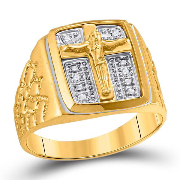 Men's 1/20 Ct Diamond Crucifix Jesus Cross Ring in 10K Yellow Gold