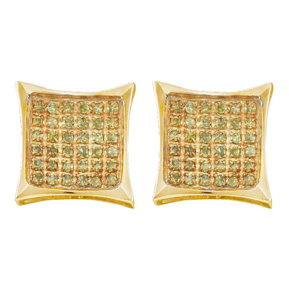 10K Yellow Gold Men's Round Yellow Color Enhanced Diamond Cluster Square Kite Earrings 1/20 Ct