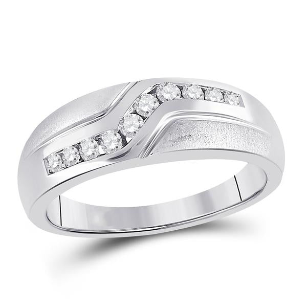 Men's 1/3 Ct Diamond Curved Single Row Matte Band Ring in 10K White Gold
