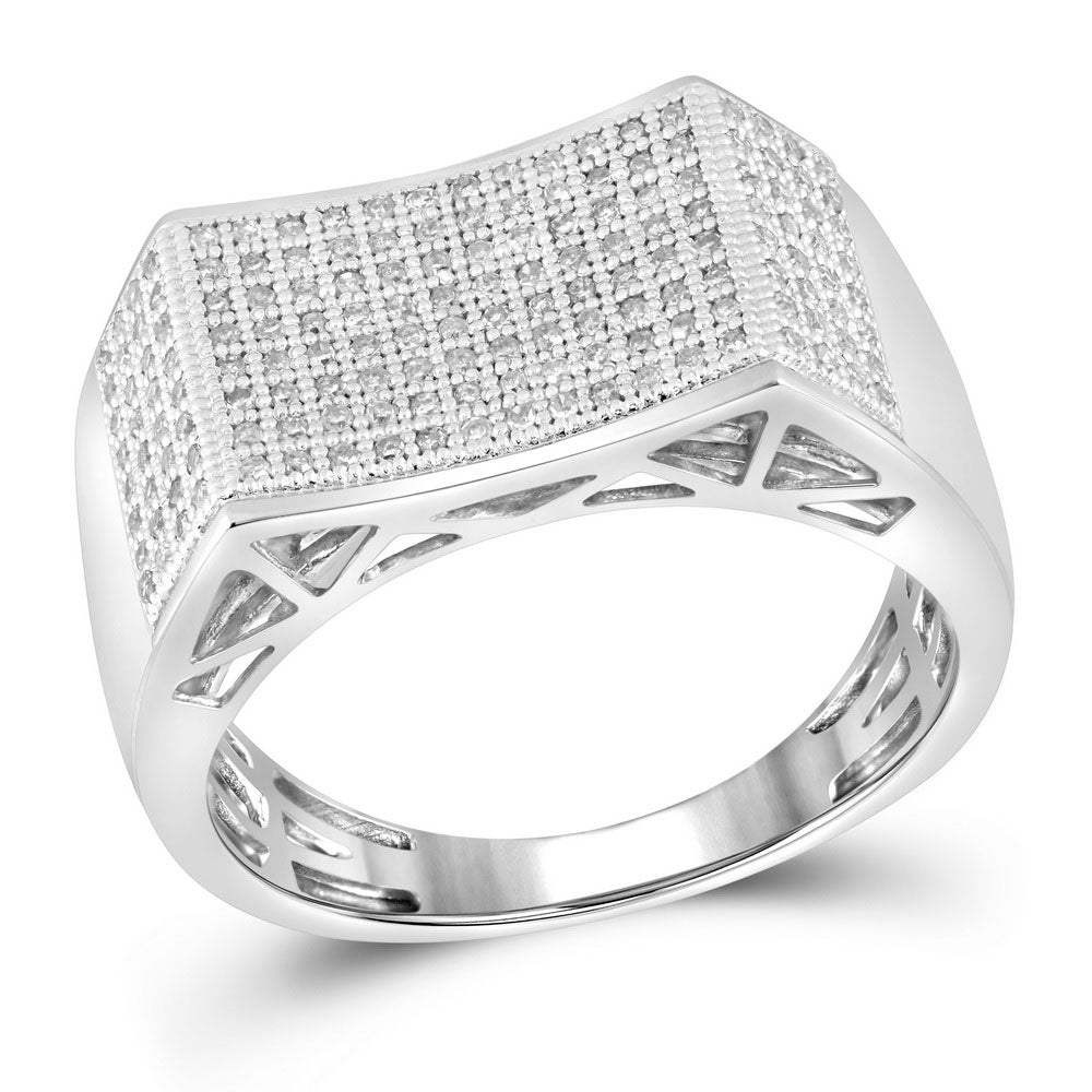 10K White Gold Mens Round Pave-set Diamond Rectangle Concave Cluster Ring 1/2 Ct