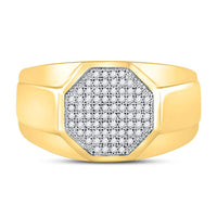 10K Yellow Gold Mens Round Diamond Octagon Cluster Ring 1/4 Ct