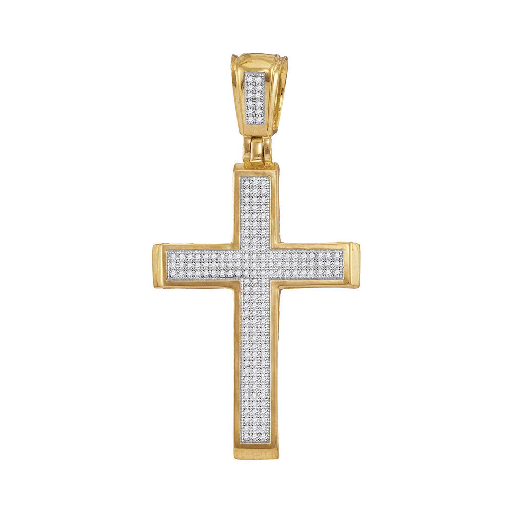 10K Yellow Gold Men's Diamond Roman Cross Charm Pendant 1/2 Ct