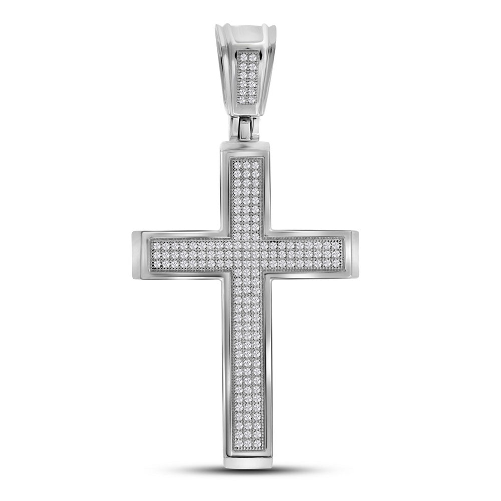 10K White Gold Men's Diamond Roman Cross Charm Pendant 1/2 Ct
