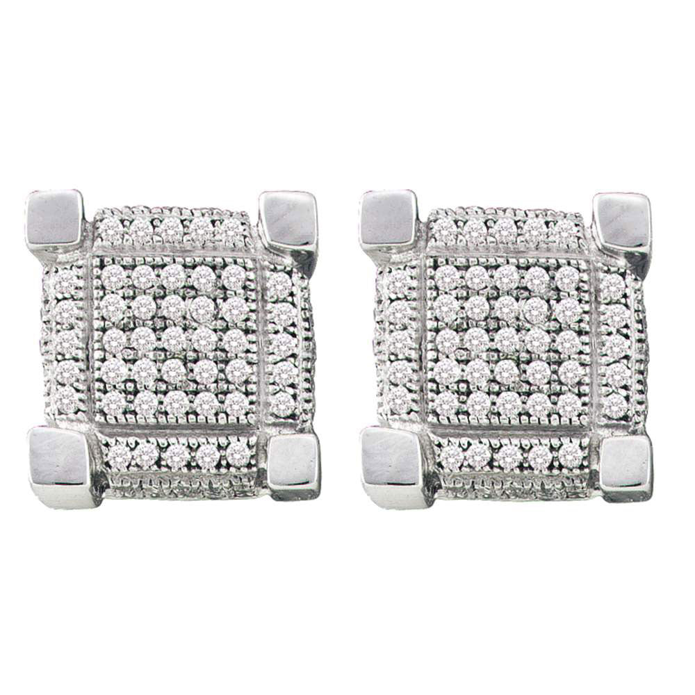 10K White Gold Men's Round Pave-set Diamond 3D Cube Square Cluster Earrings 1/4 Ct