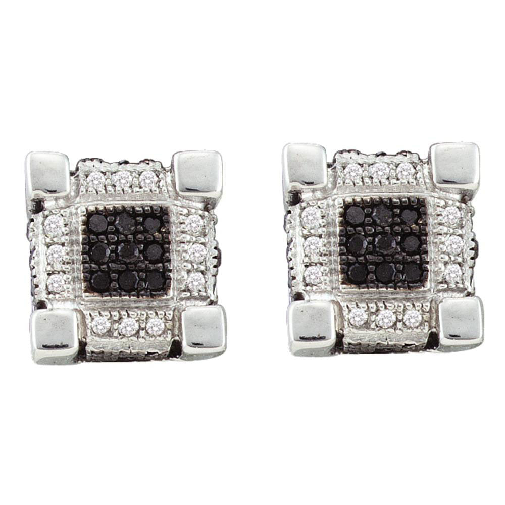 10K White Gold Men's Round Diamond 3D Cube Square Cluster Stud Earrings 1/4 Ct