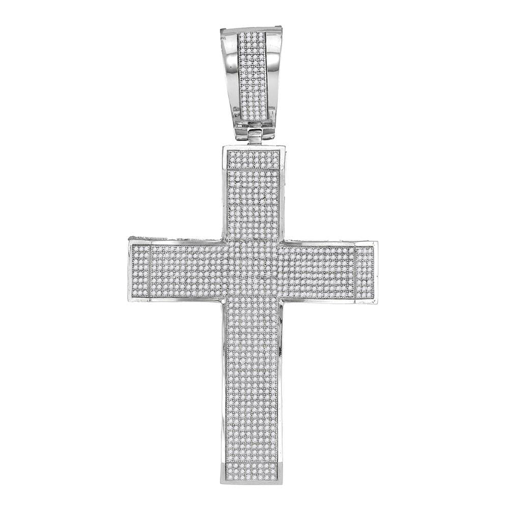 10K White Gold Men's Diamond Roman Cross Charm Pendant 2-1/3 Ct