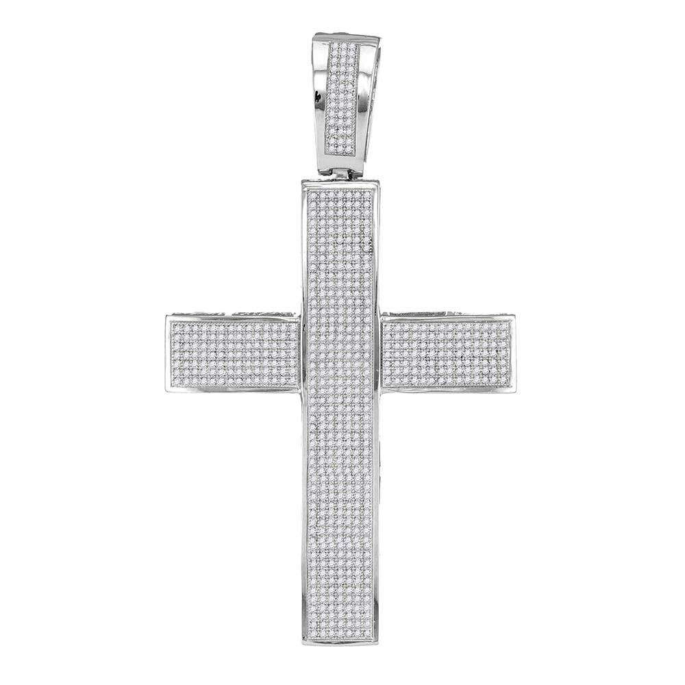 10K White Gold Men's Diamond Roman Cross Religious Charm Pendant 1-3/4 Ct