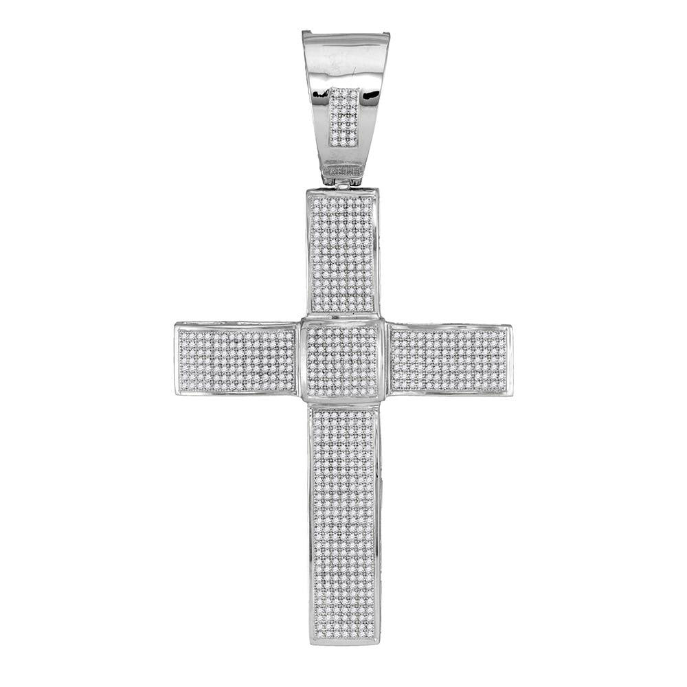 10K White Gold Men's Diamond Roman Cross Religious Charm Pendant 1-5/8 Ct