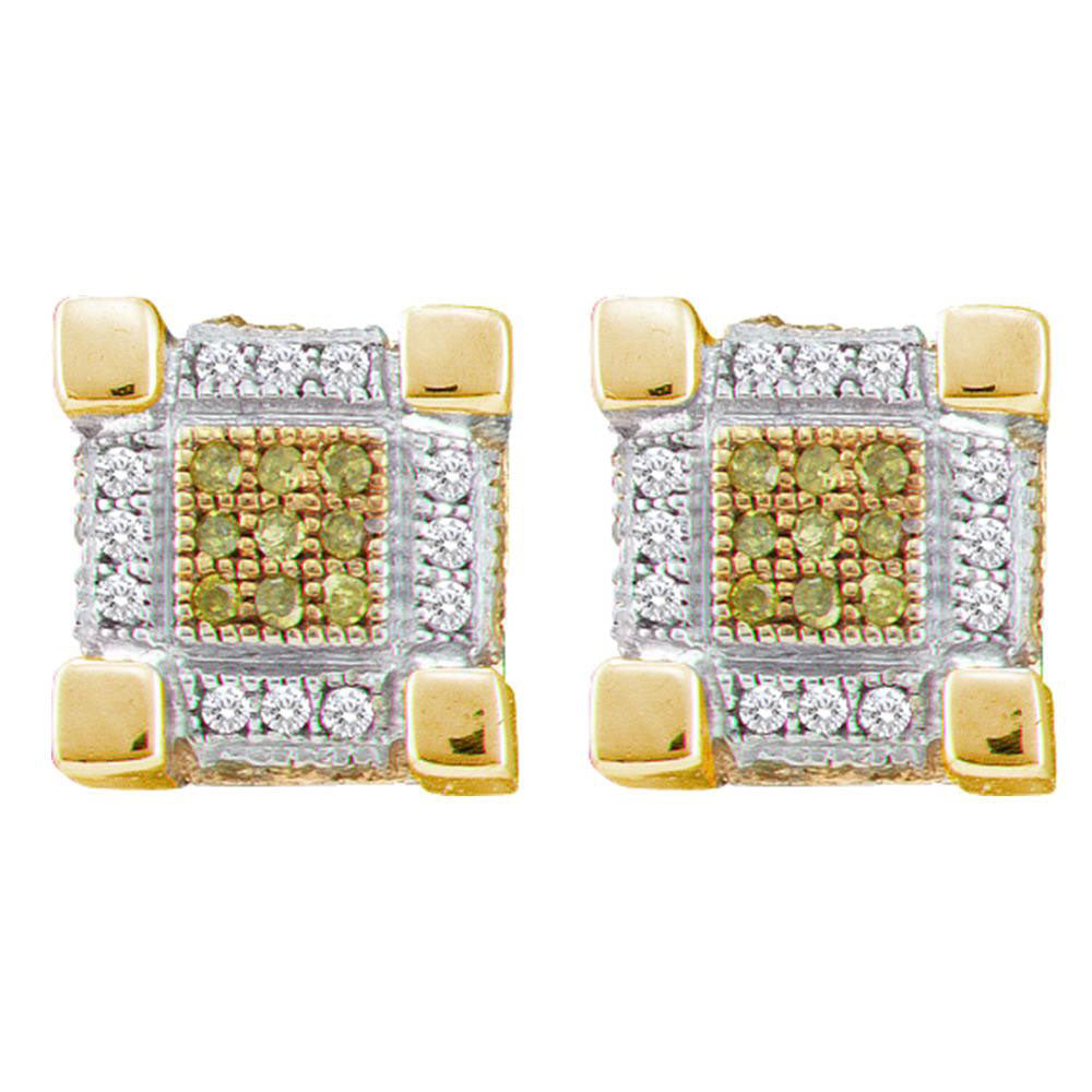 10K Yellow Gold Men's Round Yellow Color Enhanced Diamond 3D Cube Stud Earrings 1/3 Ct