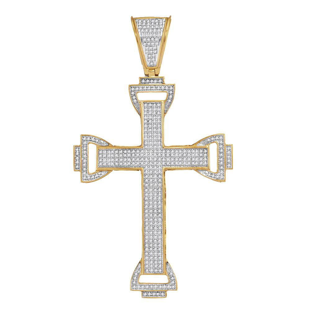 10K Yellow Gold Men's Diamond Capital Cross Charm Pendant 1.00 Ct