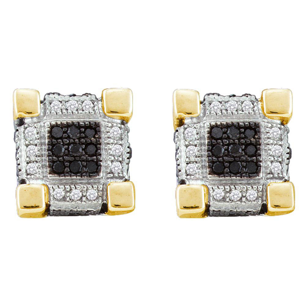 10K Yellow Gold Men's Round Diamond 3D Cube Square Cluster Stud Earrings 1/4 Ct