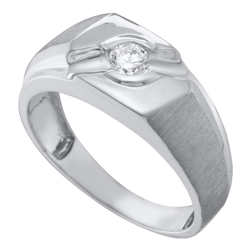 10K White Gold Mens Round Diamond Solitaire Satin-finish Ring 1/4 Ct
