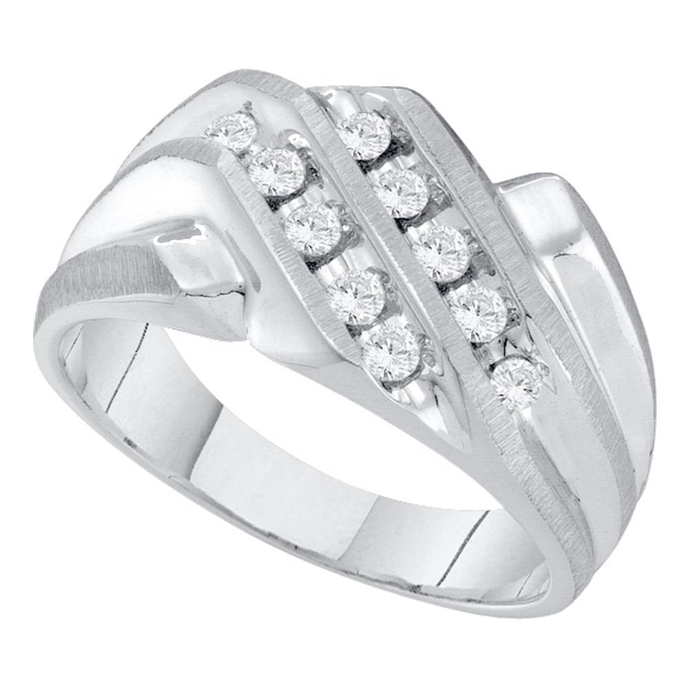 10K White Gold Mens Round Diamond Cluster Band Ring 1/3 Ct
