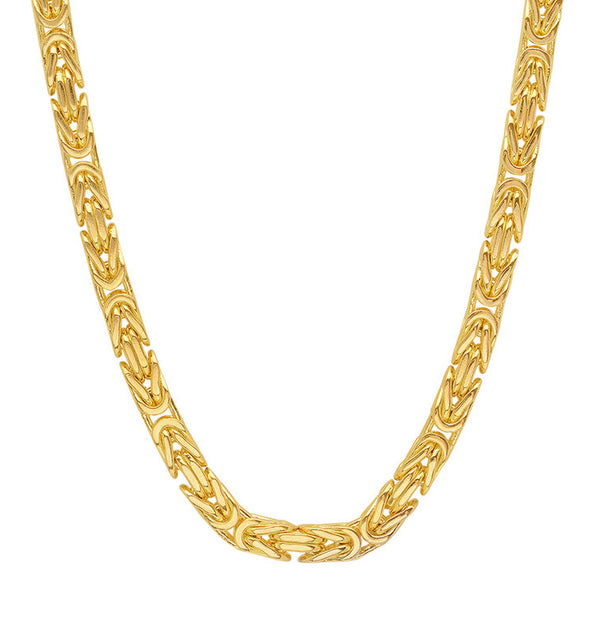 14K Yellow Gold Men's Solid Byzantine Chain