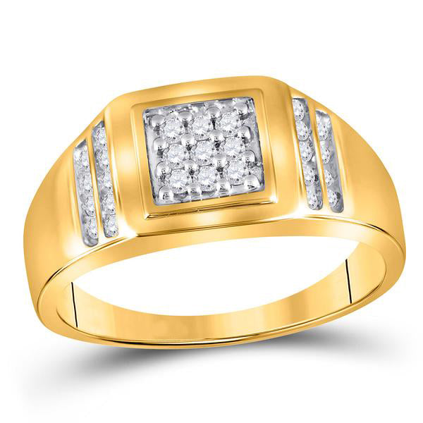 Men's 1/4 Ct Diamond Square Cluster Ring in 14K Yellow Gold