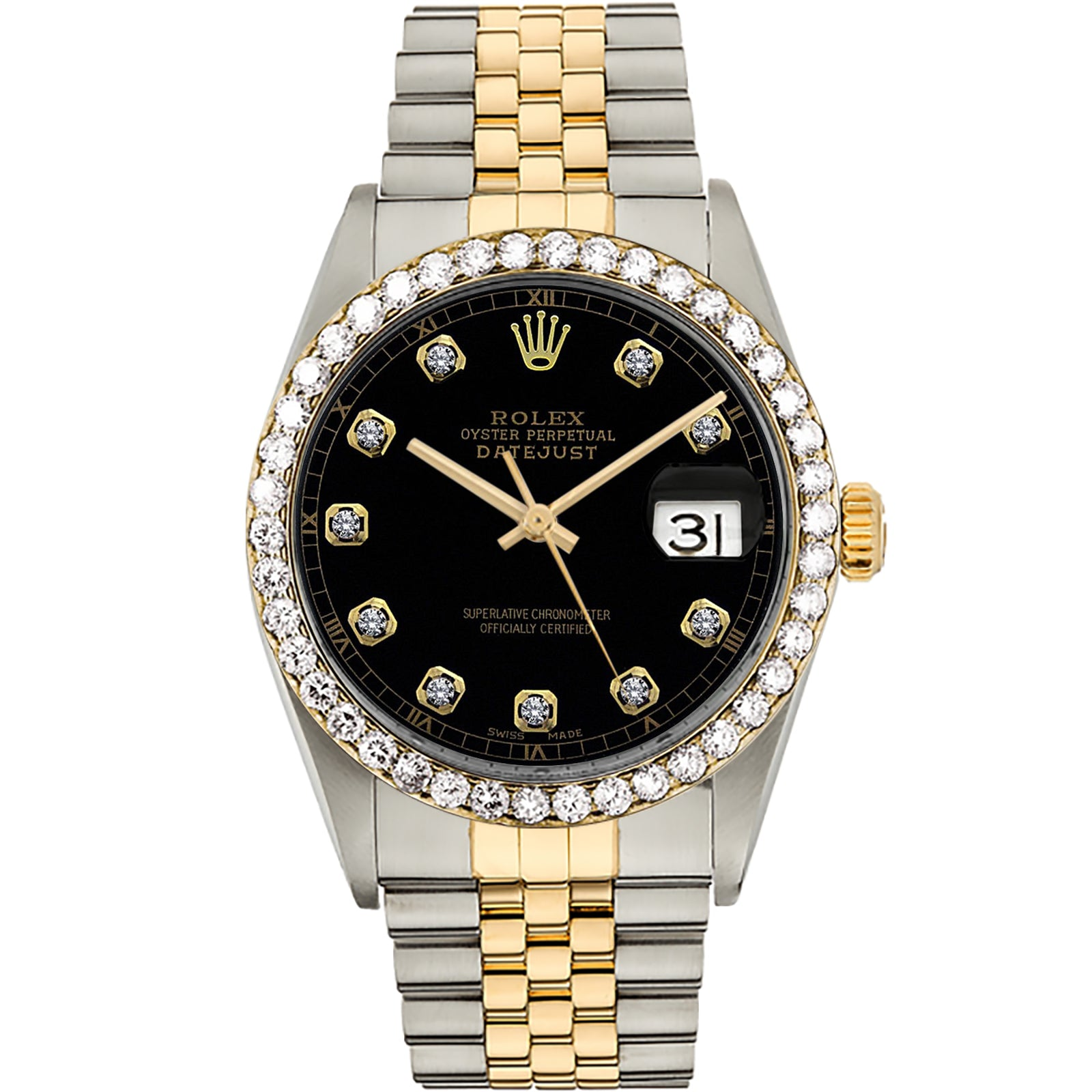 Diamond Rolex Two-Tone 18K Gold Datejust 36 Black Iced Watch