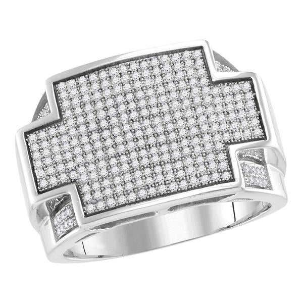 Men's 7/8 Ct Diamond Rectangle Cluster Ring in 10K White Gold