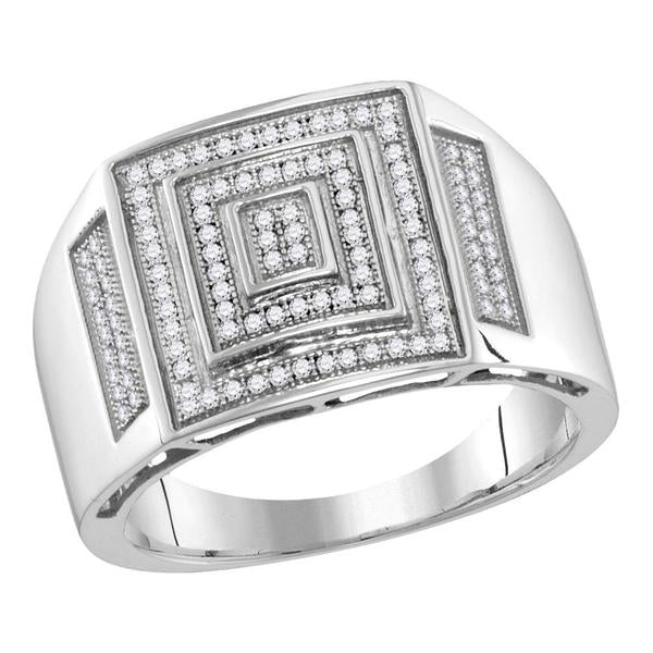 Men's 1/3 Ct Diamond Pave-set Concentric Square Cluster Ring in 10K White Gold