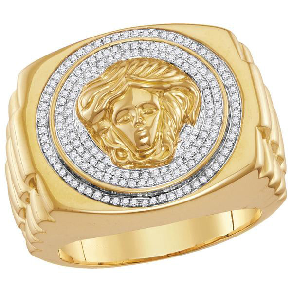 Men's 1/2 Ct Diamond Gorgon Medusa Ribbed Cluster Ring in 10K Yellow Gold