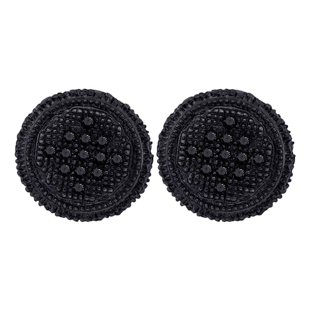 10K Yellow Black-tone Gold Men's Round Black Color Enhanced Diamond 3D Circle Cluster Earrings 1/3 Ct