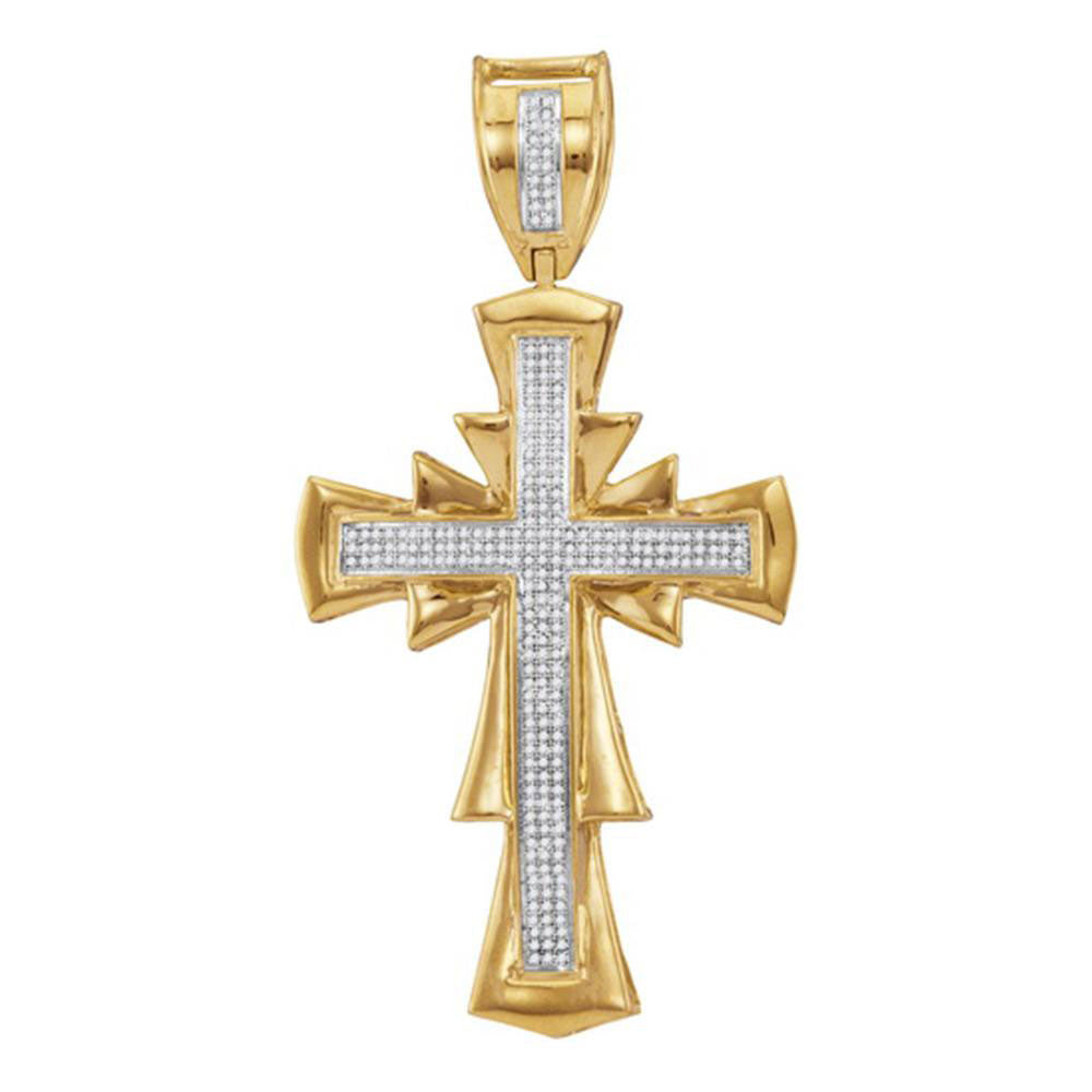 10K Yellow Gold Men's Diamond Scalloped Cross Charm Pendant 3/4 Ct