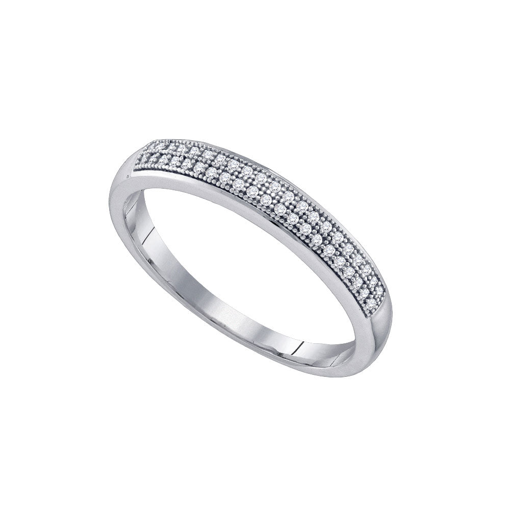 10K White Gold Mens Round Pave-set Diamond Double Row Band 1/6 Ct