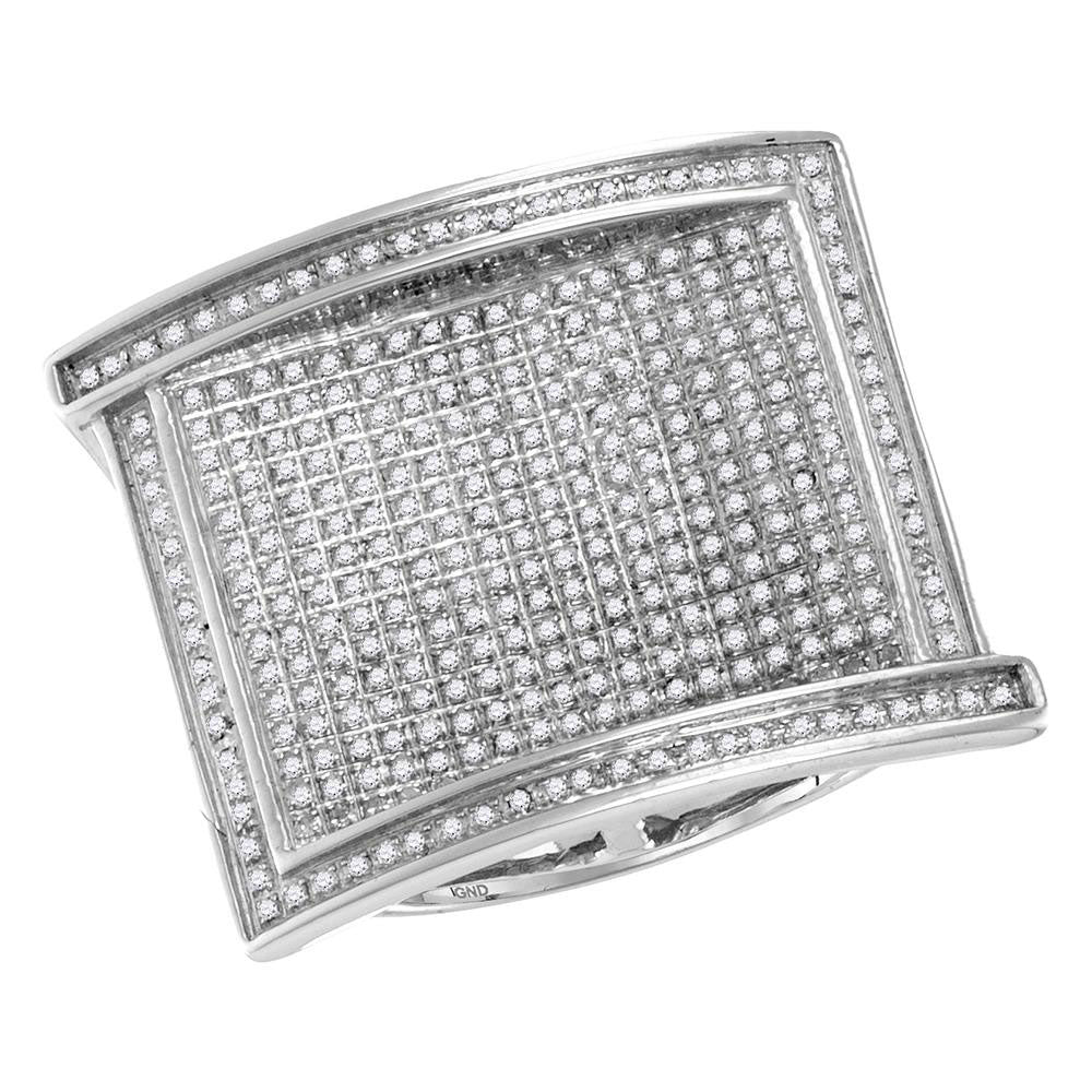10K White Gold Mens Round Pave-set Diamond Rectangle Cluster Ring 1.00 Ct