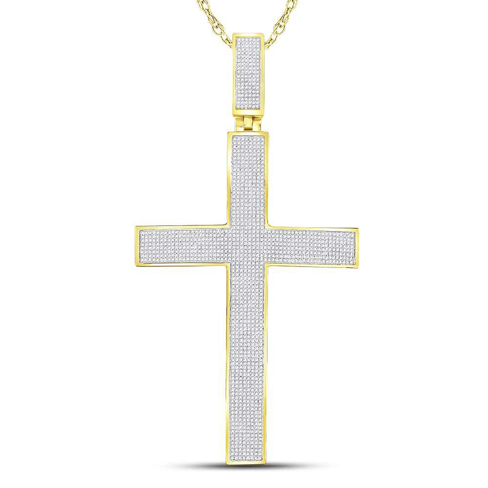 10K Yellow Gold Men's Pave-set Diamond Cross Crucifix Charm Pendant 2-1/4 Ct