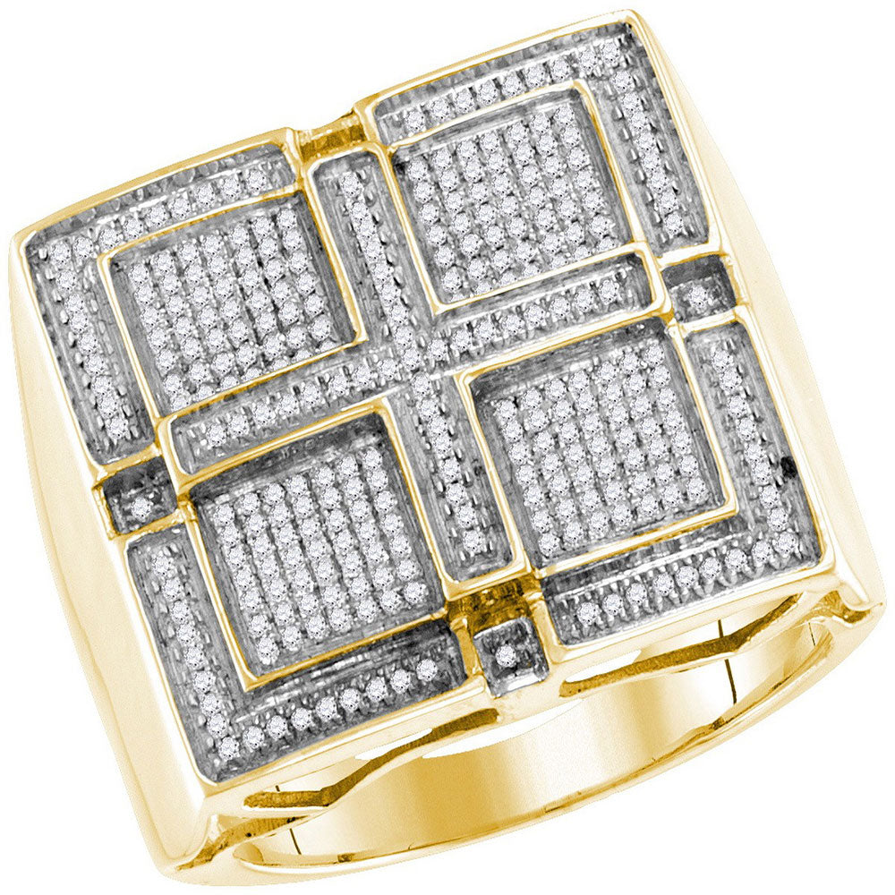 10K Yellow Gold Mens Round Pave-set Diamond Square Cross Cluster Ring 1/2 Ct