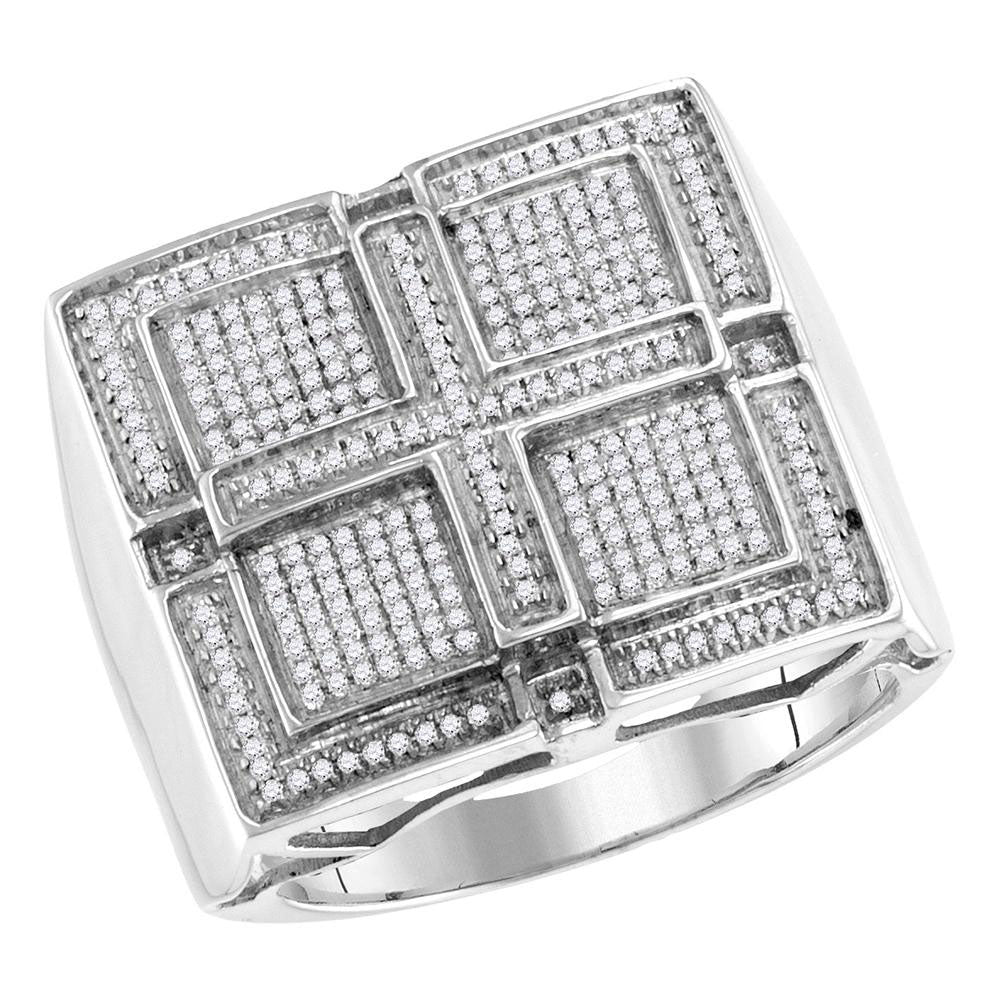 10K White Gold Mens Round Pave-set Diamond Square Cross Cluster Ring 1/2 Ct
