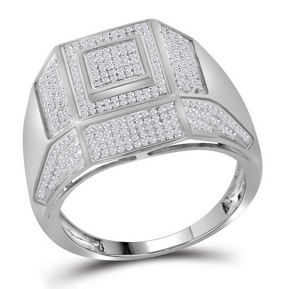 10K White Gold Mens Round Diamond Square Cluster Ring 5/8 Ct
