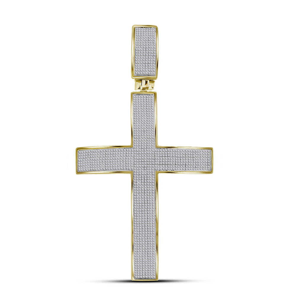 10K Yellow Gold Men's Pave-set Diamond Roman Cross Charm Pendant 1-7/8 Ct