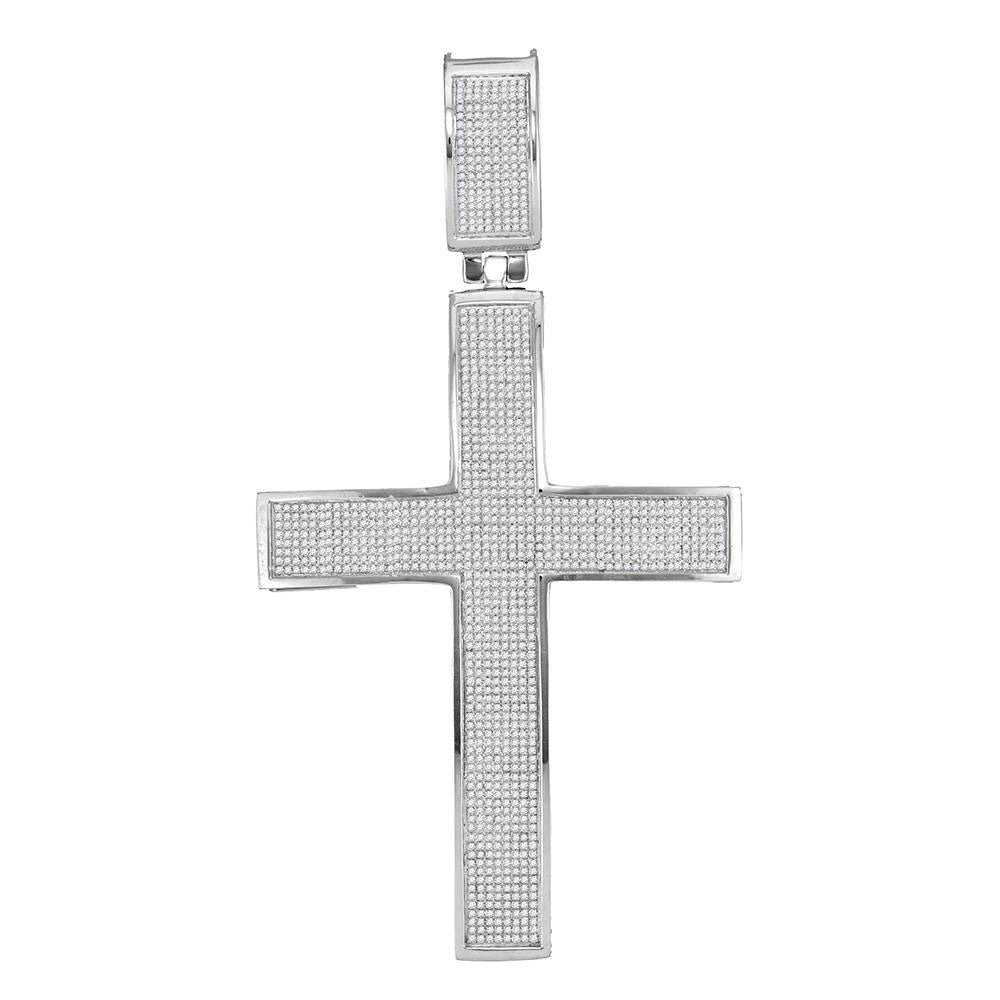 10K White Gold Men's Diamond Christian Roman Cross Charm Pendant 1-7/8 Ct