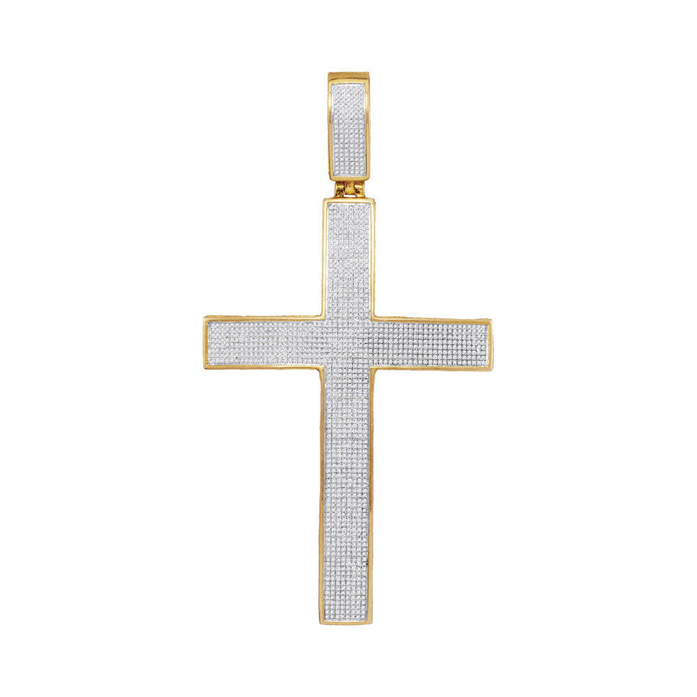 10K Yellow Gold Men's Diamond Classic Roman Cross Charm Pendant 2-1/4 Ct