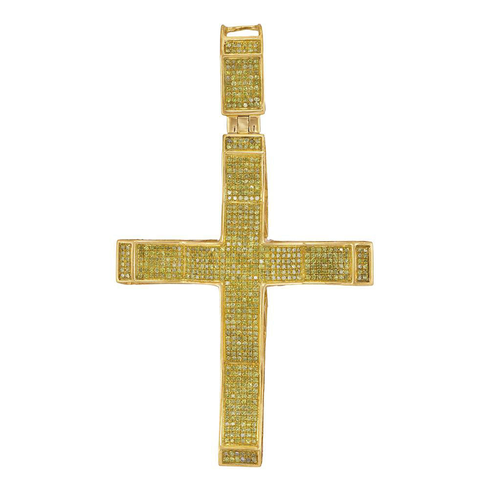 10K Yellow Gold Men's Yellow Color Enhanced Diamond Roman Cross Charm Pendant 1.00 Ct