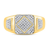 10K Yellow Gold Mens Round Diamond Diagonal Square Cluster Ring 1/3 Ct