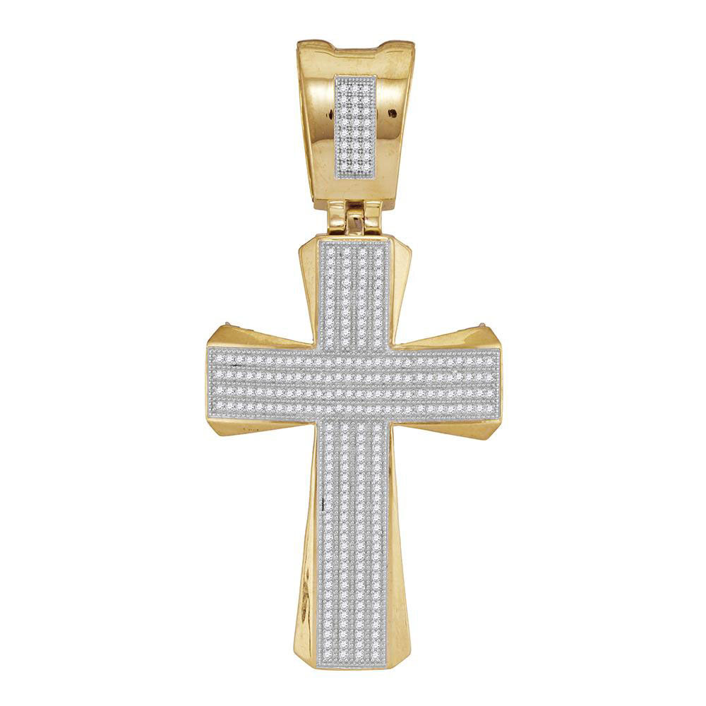 10K Yellow Gold Men's Diamond Flared Pattee Cross Religious Charm Pendant 3/4 Ct