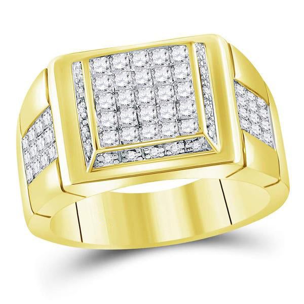 Men's 1-5/8 Ct Diamond Princess Square Cluster Ring in 10K Yellow Gold