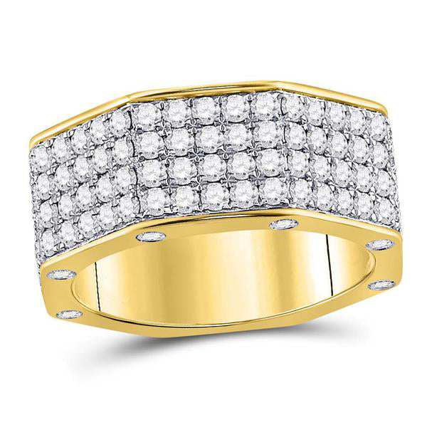 Men's 2-3/4 Ct Diamond Octagon Nut Band Ring in 14K Yellow Gold