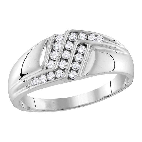 Men's 1/4 Ct Diamond Triple Row Polished Band Ring in 10K White Gold