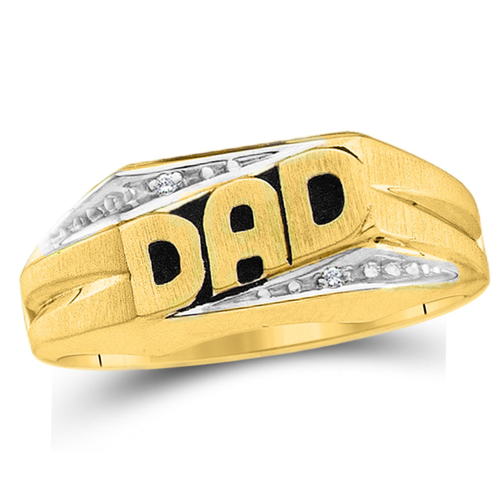 10K Yellow Gold Mens Round Diamond Dad Father Band Ring .01 Ct