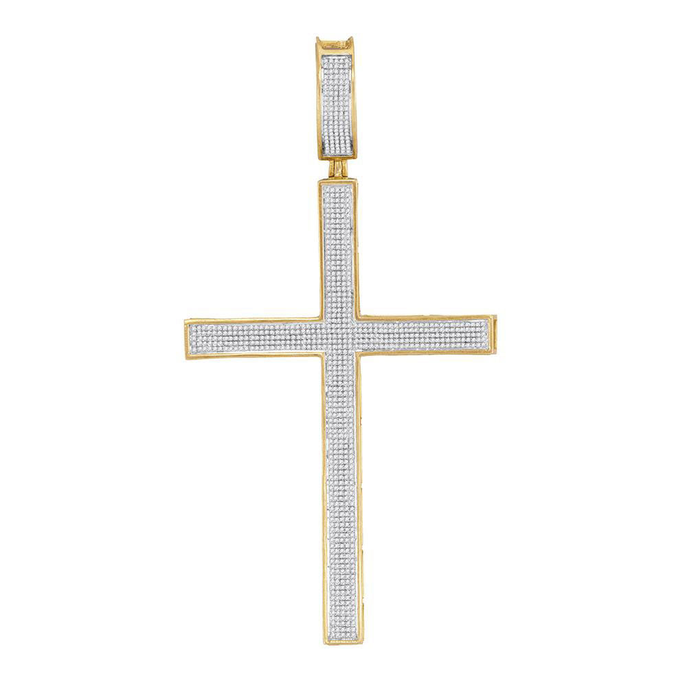 10K Yellow Gold Men's Diamond Roman Cross Charm Pendant 1-1/3 Ct