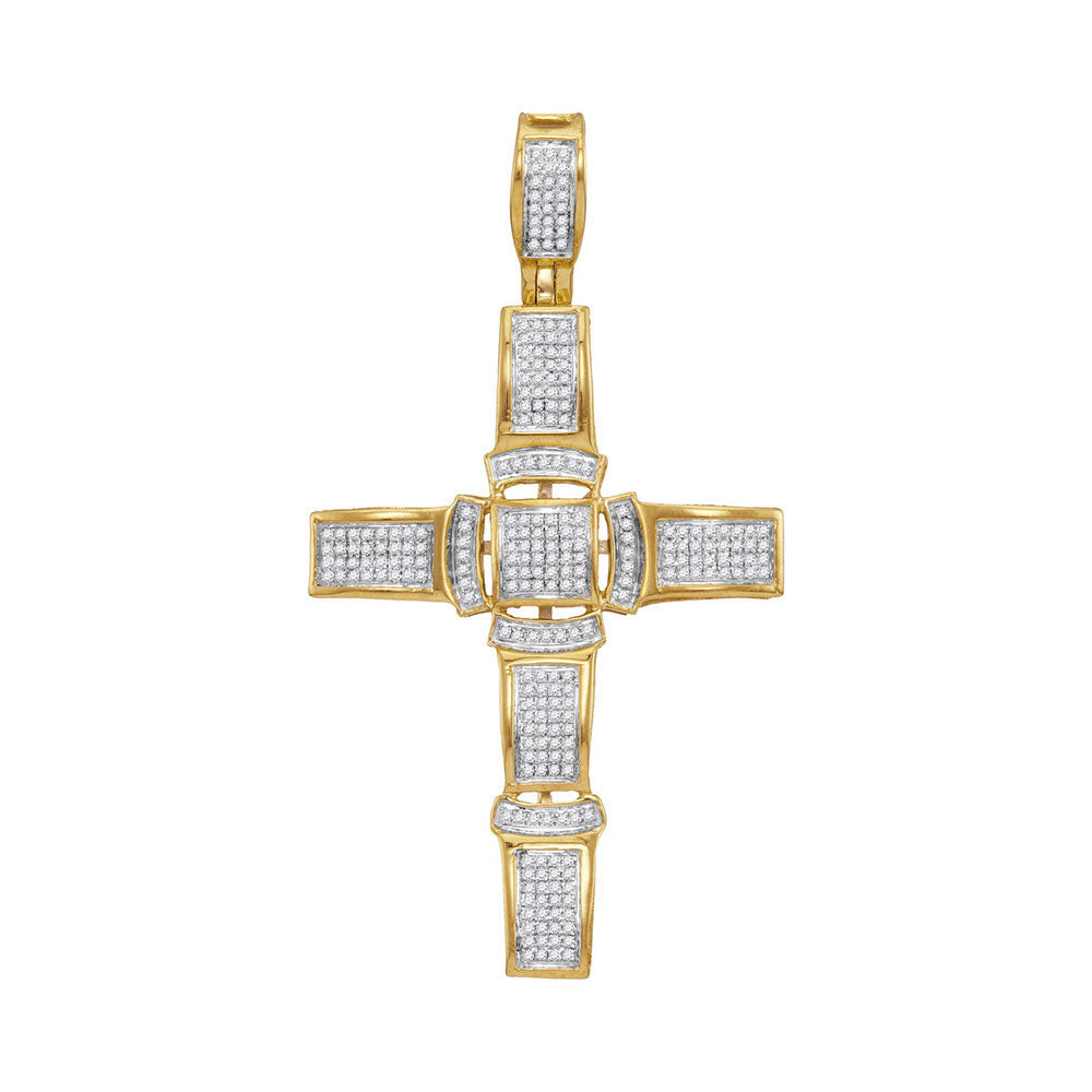 10K Yellow Gold Men's Diamond Segmented Christian Cross Charm Pendant 1/2 Ct