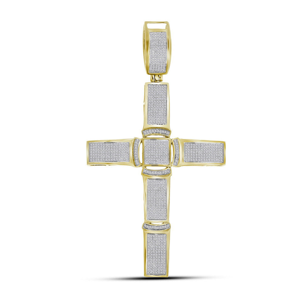 10K Yellow Gold Men's Diamond Roman Cross Religious Charm Pendant 1-1/2 Ct