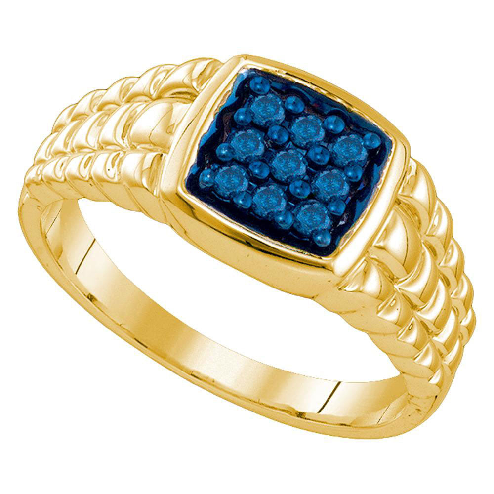10k Yellow Gold Mens Masculine Blue-colored Diamond Cluster Square-shape Band Ring 1/4 Ct