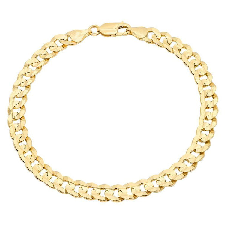 10K Yellow Gold Men's Solid Cuban Link Bracelet