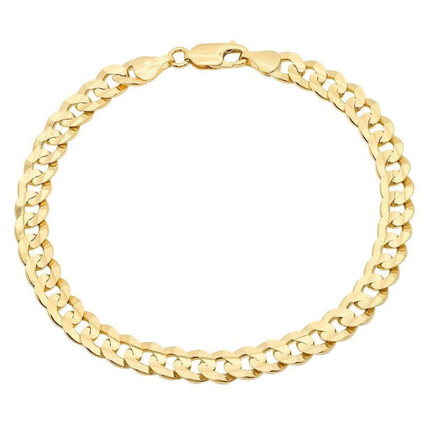 14K Yellow Gold Men's Solid Cuban Link Curb Bracelet