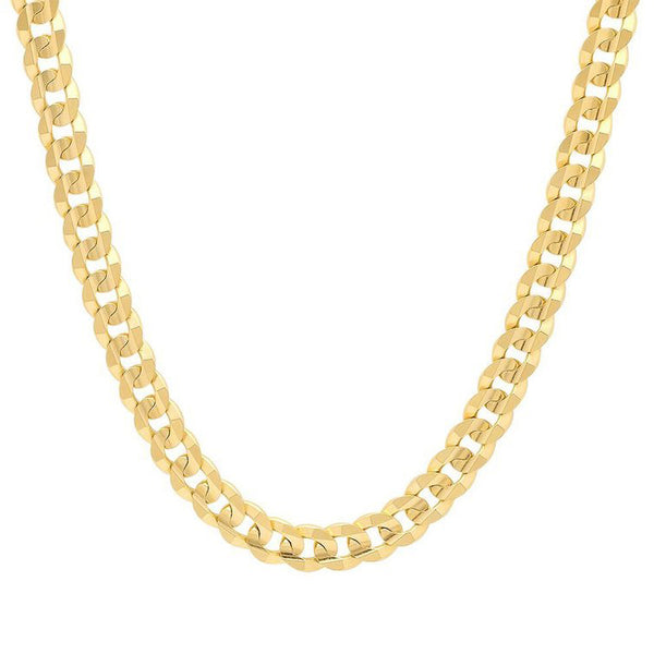 14K Yellow Gold Men's Solid Cuban Link Curb Chain